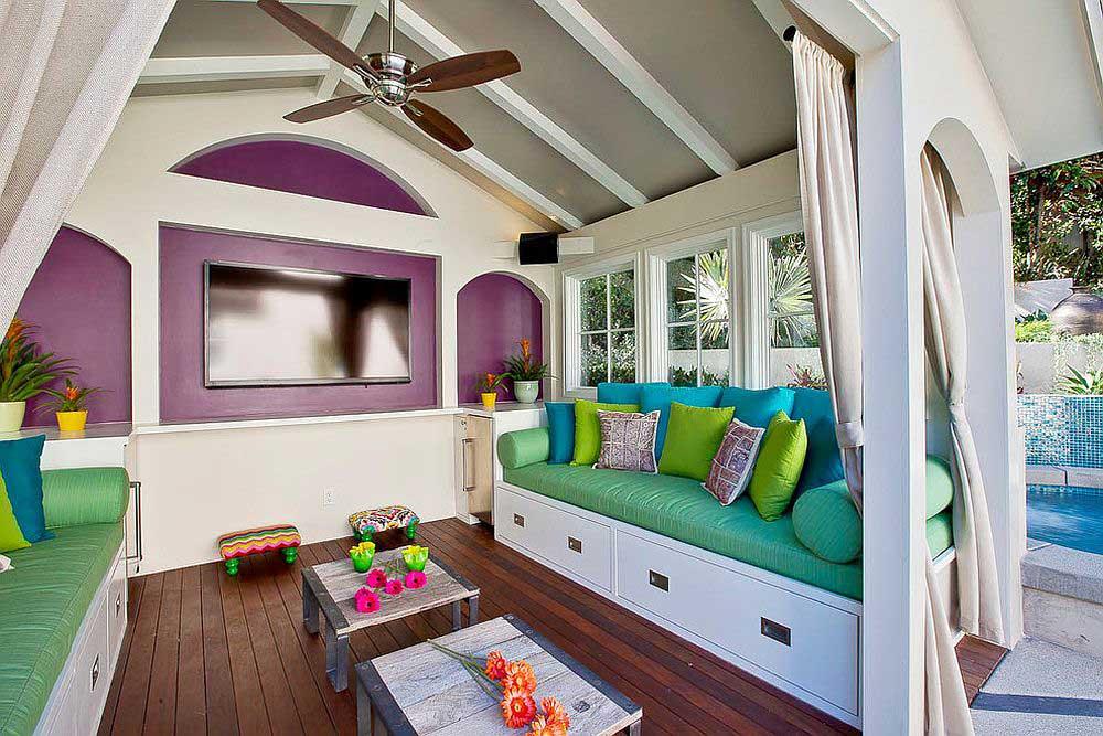 اتاقک استخر با دیزاین مدیترانه ای