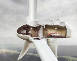 تصوير ژنراتور بادی و مصرف انرژی در ساختمان داخل آن