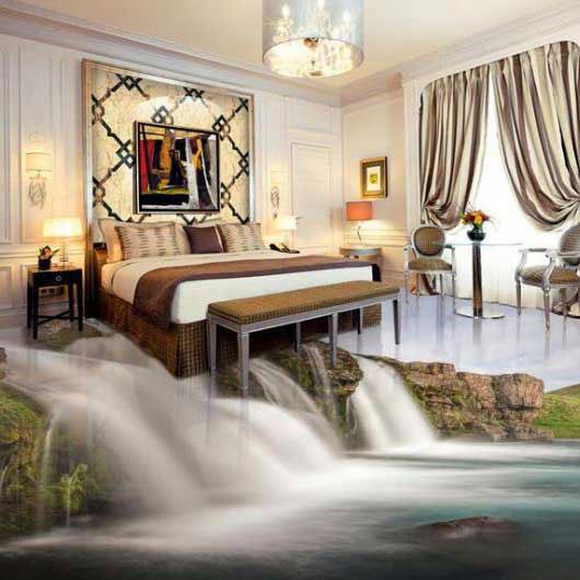 طرح آبشار سه بعدی در کف اتاق خواب