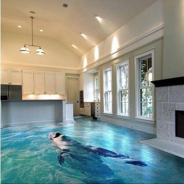 طرح سه بعدی دلفين در کفپوش سه بعدی آپارتمان