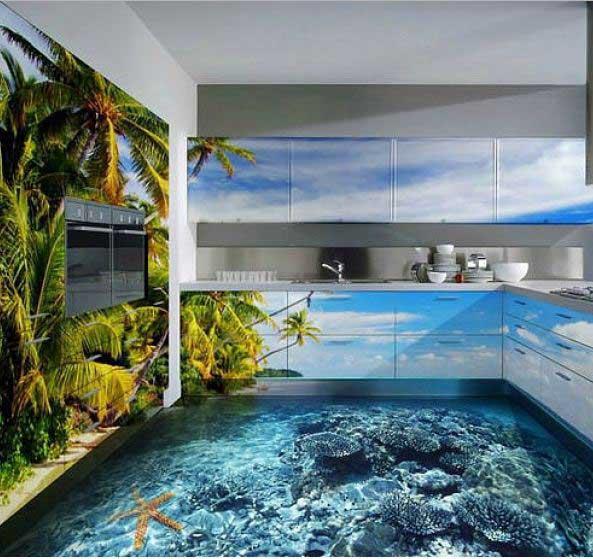 تصویر دریا در کفپوش سه بعدی کف آشپزخانه
