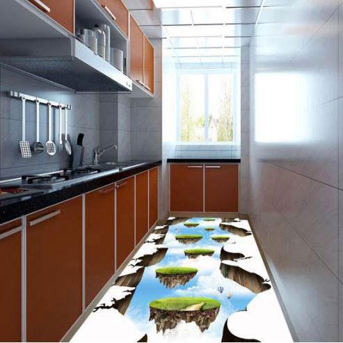 تصویر سه بعدی از تکه های زمین در کف آشپزخانه