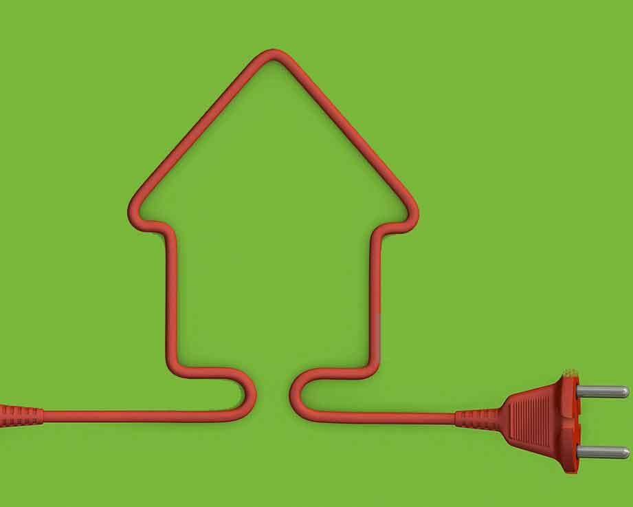 تصوير خانه ای ساخته شده از سيم برق به نشانه مصرف انرژی در ساختمان