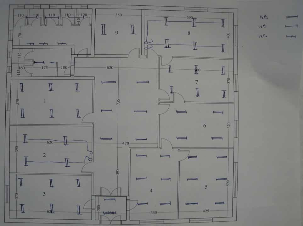 نقشه جانمايی چراغ ها برداشت شده در هنگام بازديد از ساختمان در ممیزی انرژی تفصیلی