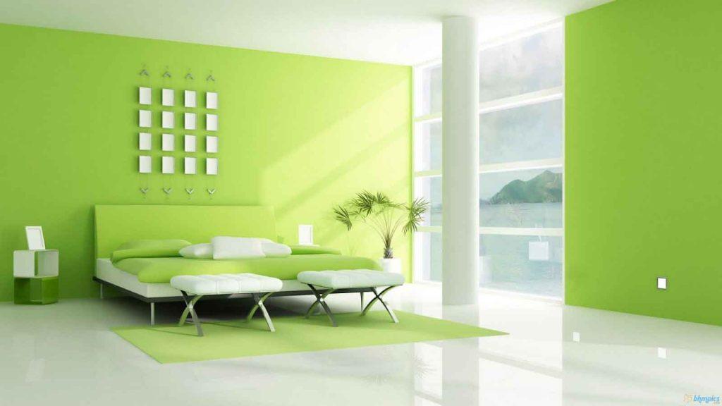 فضایی با کاغذ دیواری سبز رنگ يکدست
