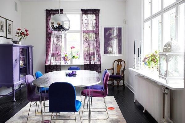 طراحی دکوراسیون داخلی اتاق استراحت به بنفش