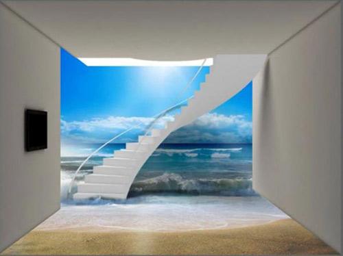 کاغذ ديواري سه بعدي موج در کنار راهپله