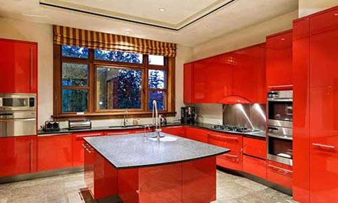 کابینت های قرمز رنگ آشپزخانه خانه لوکس
