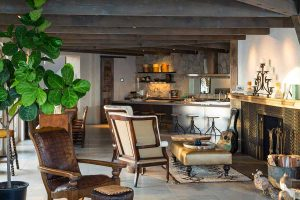 نشيمن و آشپزخانه و صندلي و گل در خانه لوکس