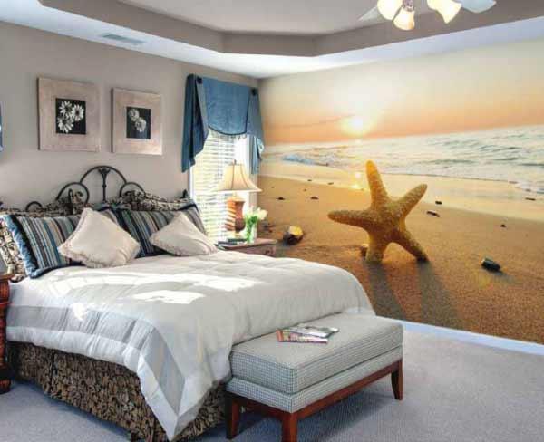 اتاق خواب با پوستر ديواری سه بعدی ستاره دريايي