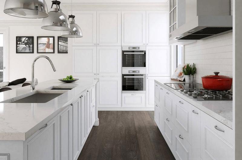 طراحي دکوراسيون آشپزخانه جزيره با سينک سفيد