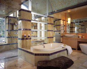 حمام و شمع های زيبا در ساحتمان لوکس کوه هارمونی