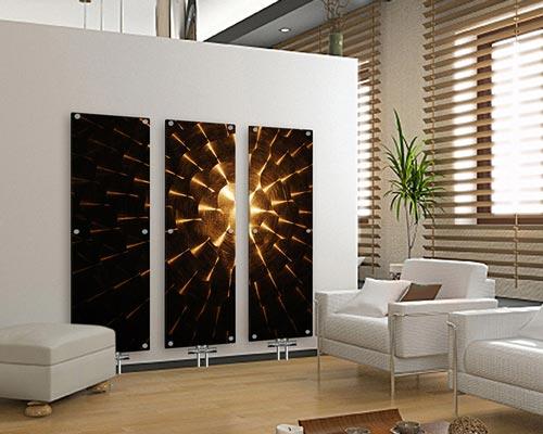 هیتر برقی شیشه ای دکوراتیو طرح خورشید مبلمان دکوراسیون سفید پرده لوور دراپه قهوه ای
