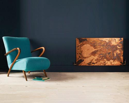 هیتر دکوراتیو شیشه ای با طرح ابر و باد صندلی آبی