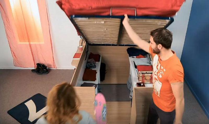استفاده از تختخواب با فضاي دخيره سازي در زير آن