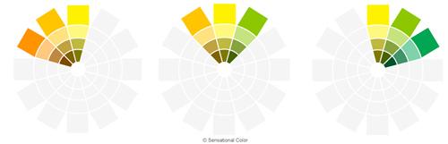 نمودار هارمونی رنگ های مشابه در چرخه رنگ