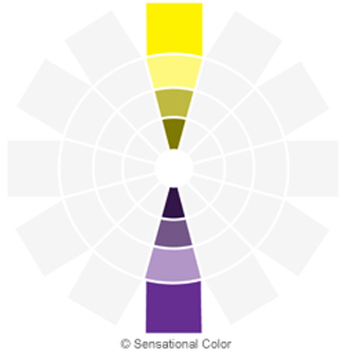 نمودار هارمونی رنگ های مکمل در تئوری رنگ