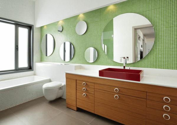 طراحی دکوراسیون حمام با با آينه هاي بيضي