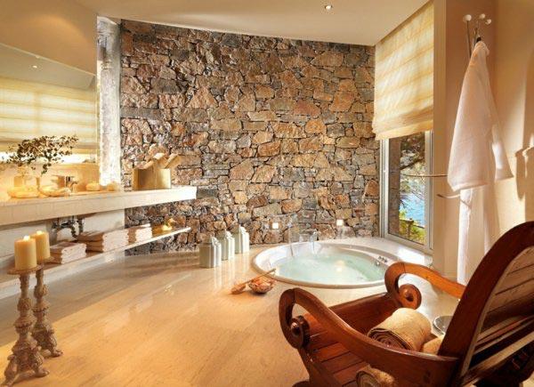 تزيين ديوار حمام با سنگ