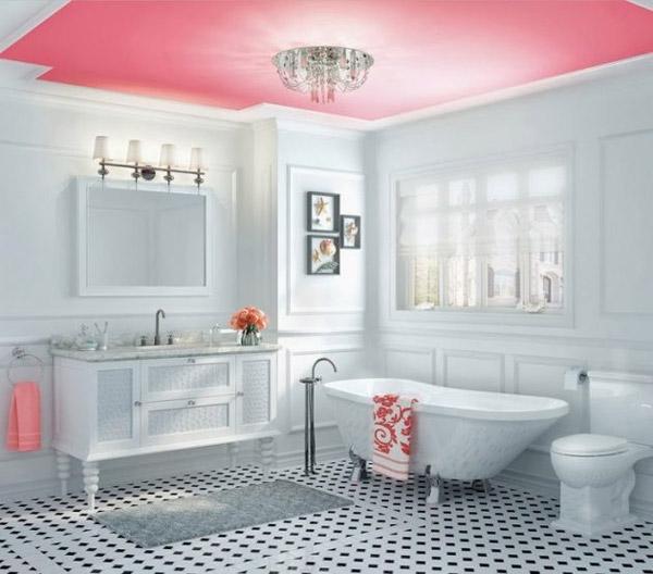 استفاده از رنگ روشن پاستيلي و سقف قرمز در طراحی دکوراسیون حمام