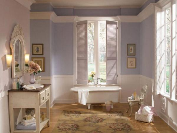 حمام با دکوراسیون رنگ پاستيلي بنفش