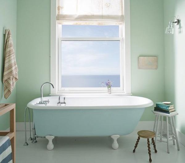 حمام با دکوراسیون رنگ سبز پاستيلي