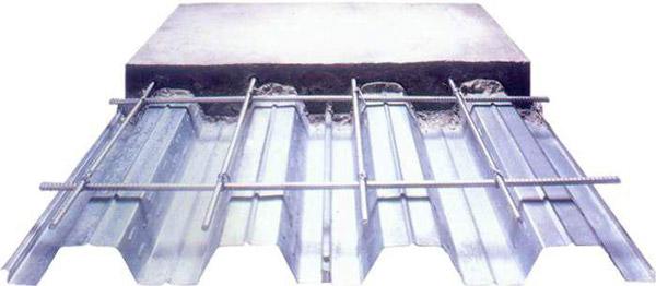 نمای شماتيک سقف عرشه فولادی و بتن