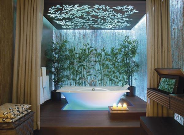 استفاده از عناصر طبيعت در طراحی دکوراسیون حمام لوکس