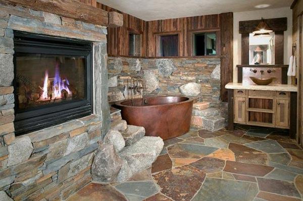 استفاده از وان فلزي و ديوارهاي پوشيده از سنگ در طراحی دکوراسیون حمام