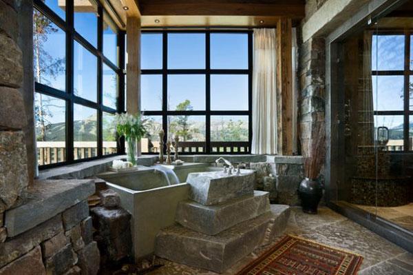 تزيين ديوار و کف حمام با سنگ و ساختن پله هاي سنگي براي وان