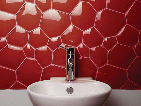 کاشي قرمز رنگ در طراحی دکوراسیون حمام