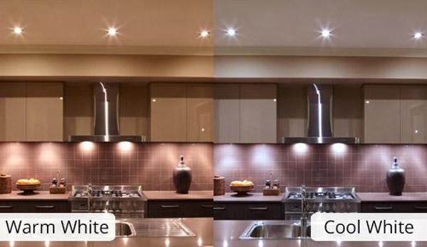 آشپزخانه با رنگ روشنایی گرو و سرد