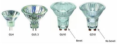 انواع پايه های لامپ ها ی هالوژن
