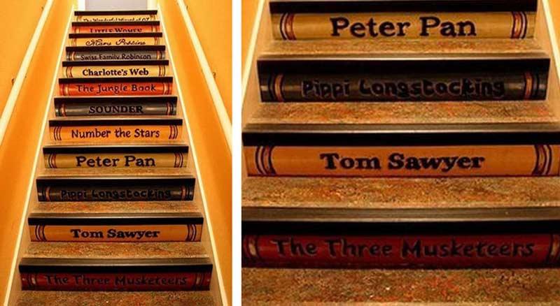 تزئین پله ها با کتاب داستان