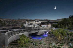 نمای ساختمان لوکس از دور در شب
