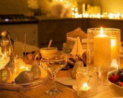 نورپردازی آشپزخانه با شمع