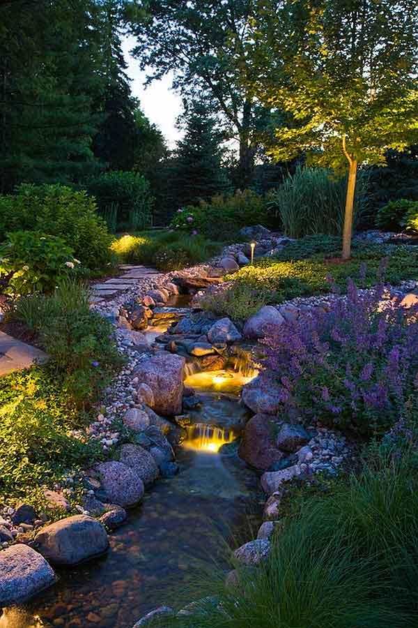 نورپردازی آبنما در باغچه با چراغ های زیر آب