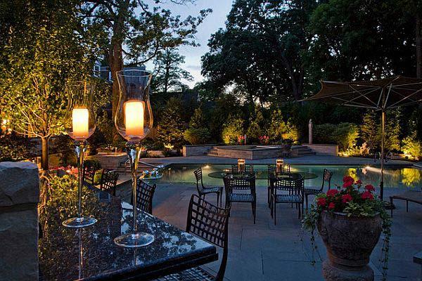 نورپردازی باغچه با چراغ های قابل استفاده در پذیرایی