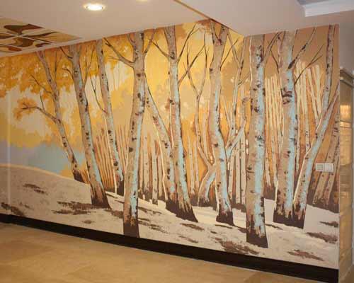 نقاشی لابی ساختمان با تصویر جنگل