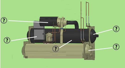 اجزای چیلر کمپرسور کندانسور شیر فشار شکن اواپراتور مخزن آب