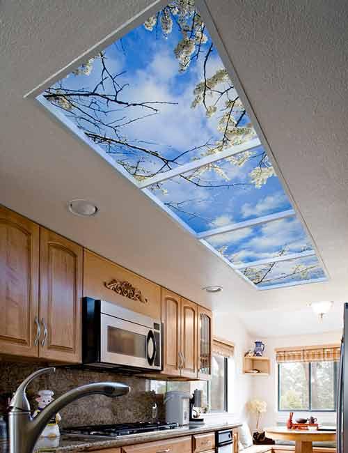 استفاده از سقف کاذب طرح دار به عنوان آسمان مجازی آشپزخانه