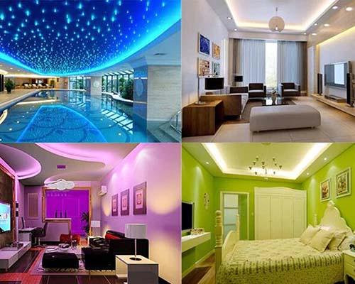 نورپردازی اماکن مختلف بوسیله لامپ اس ام دی و استخر آبی و پذیرایی و اتاق خواب با کاغذ دیواری سبز