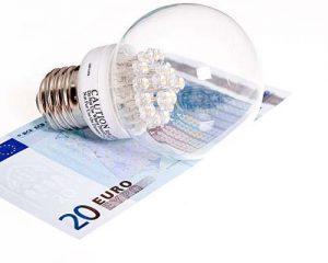 لامپ ال ای دی روی پول آبی به واحد یورو