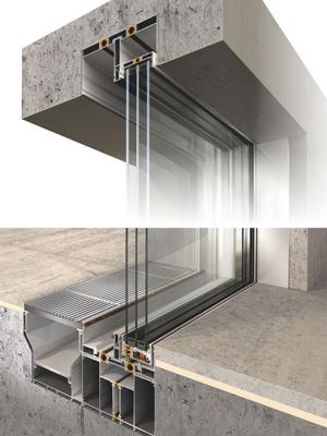 جزییات در کشویی که پروفیل آن داخل کف و سقف نصب می شود شامل یراق آلات شیشه و پروفیل شامل یراق آلات شیشه و پروفیل