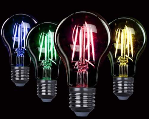 لامپ فیلامنتی صورتی و سبز و آبی و زرد