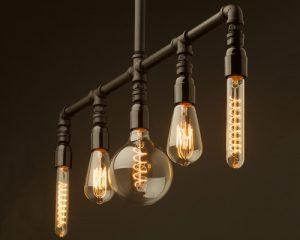 لوستر زیبا و خاص با لامپ ها و تراشه های فیلامانی