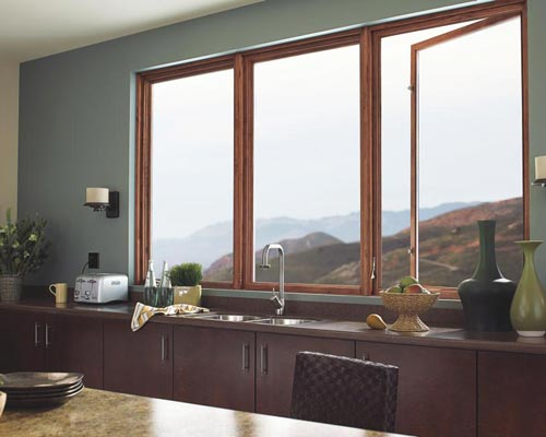 پنجره فایبرگلاس با روکش طرح چوب