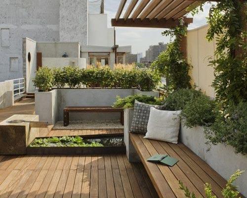 کاربرد ترمووود در روف گاردن به عنوان متریالی برای کف ، سقف و مبلمان