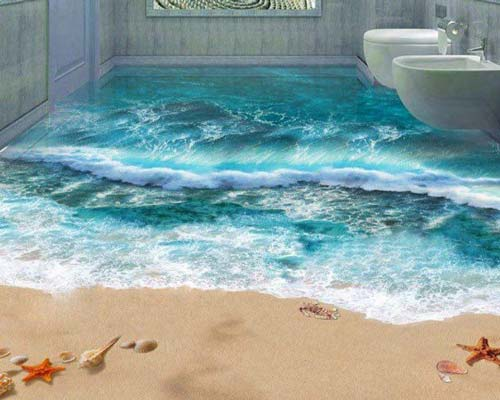 نصب کفپوش سه بعدی اپوکسی طرح دریا