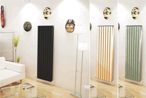 رادیاتور مشکی ورتیکال دیواره سفید ماسک آفریقایی